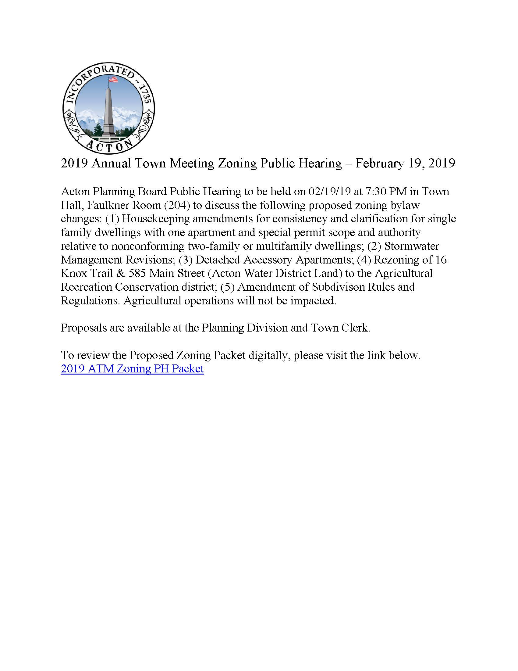 2019 Annual Town Meeting Zoning Public Hearing