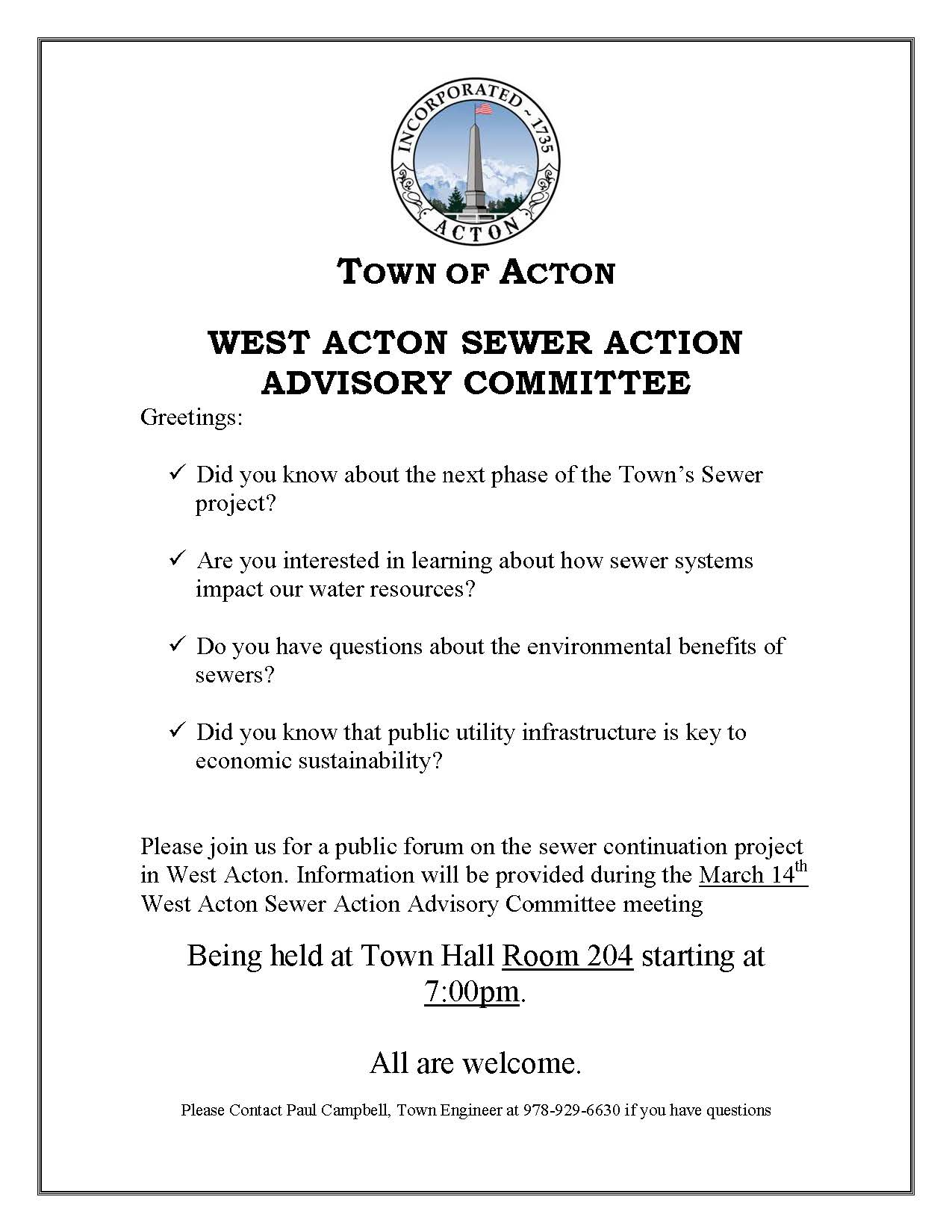 West Acton Sewer Forum Notice_ All Boards_Committees
