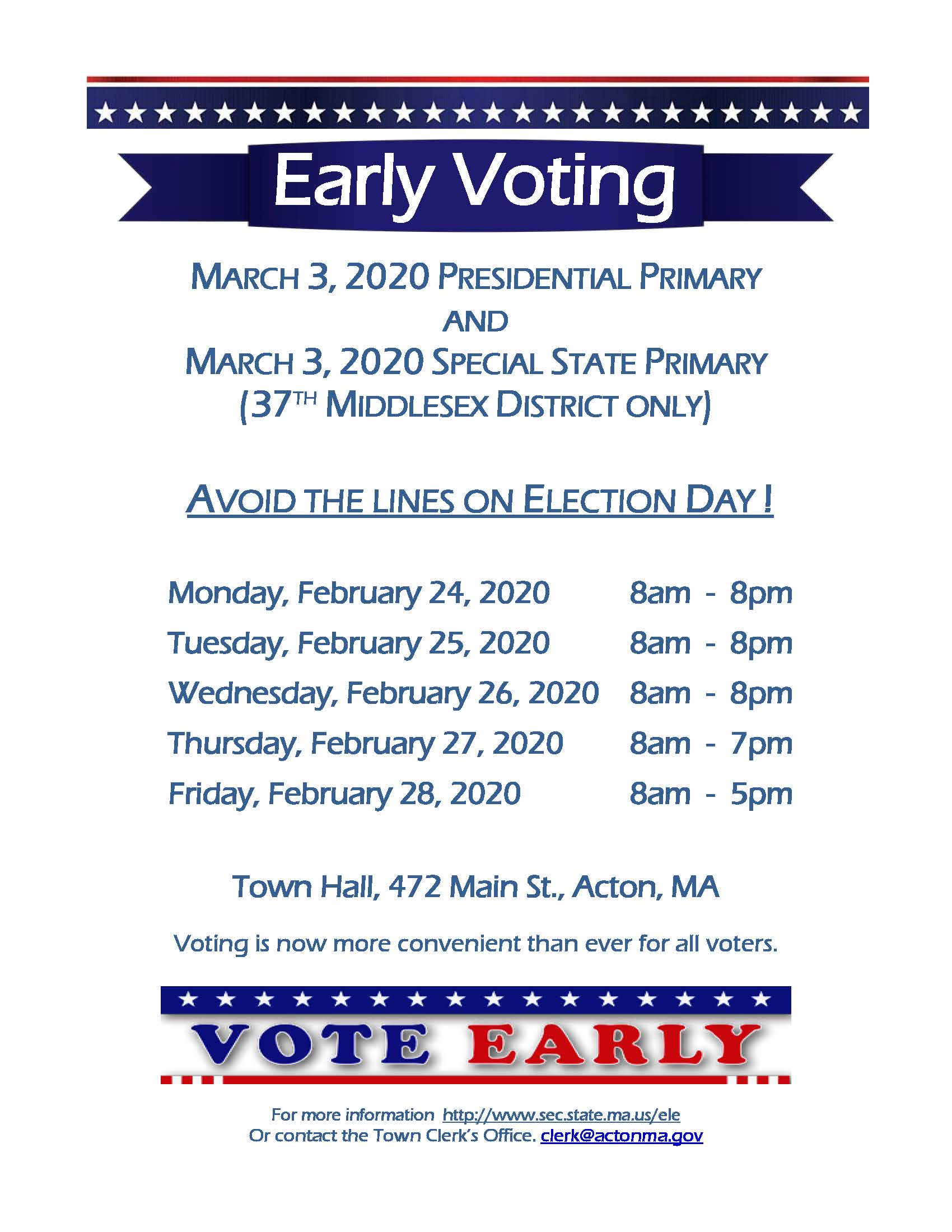 Early Voting flyer March 2020